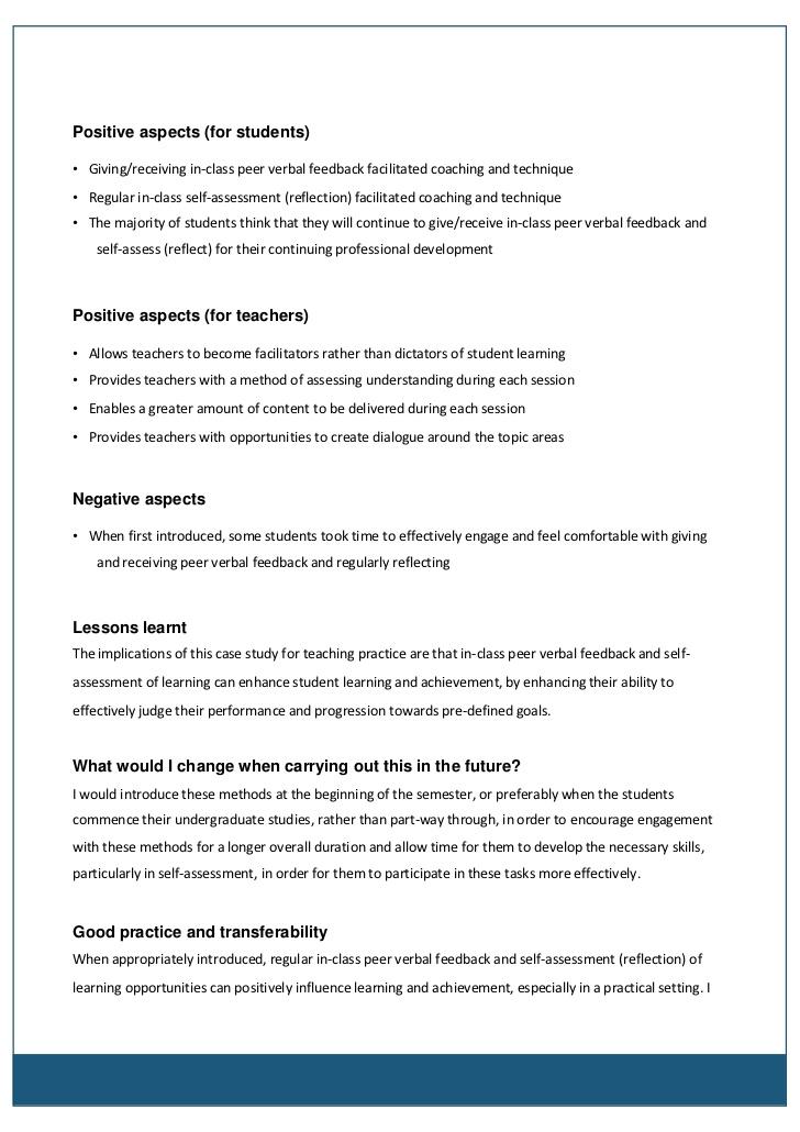 reflective essay on performance feedback