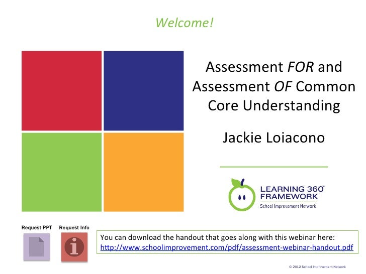 Welcome!	                                                                      Assessment	  FOR	  and	                    ...