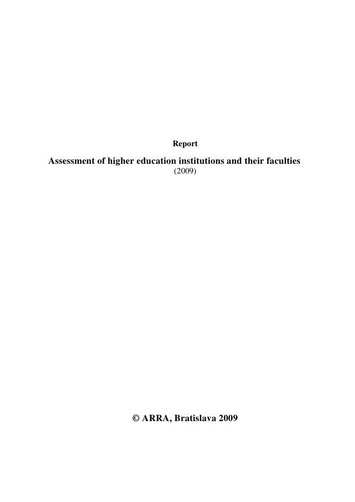 Assessment HEI 2009
