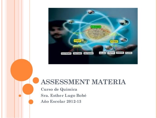 ASSESSMENT MATERIACurso de QuímicaSra. Esther Lugo BobéAño Escolar 2012-13