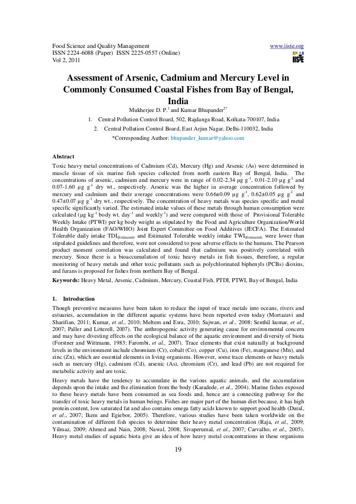 Assessment of arsenic, cadmium and mercury level in commonly consumed coastal fishes from bay of bengal, india