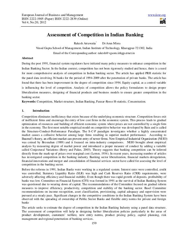 Assessment of competition in indian banking