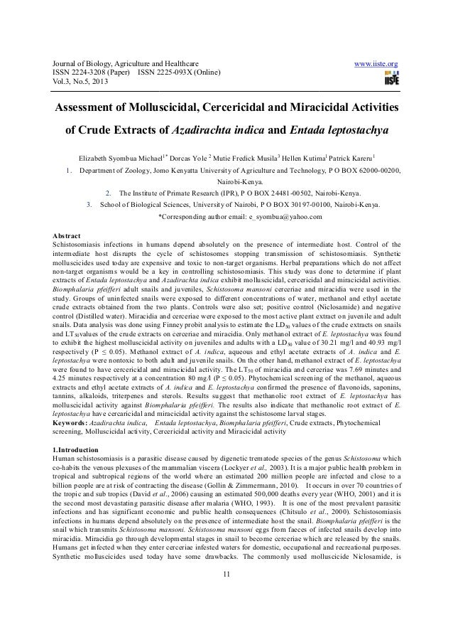 Journal of Biology, Agriculture and HealthcareISSN 2224-3208 (Paper) ISSN 2225Vol.3, No.5, 2013Assessment of Molluscicidal...