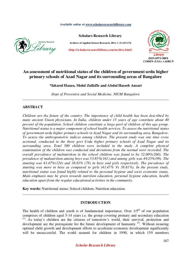 Assessment of nutritional status in govt urdu higher primary schools, Bangalore