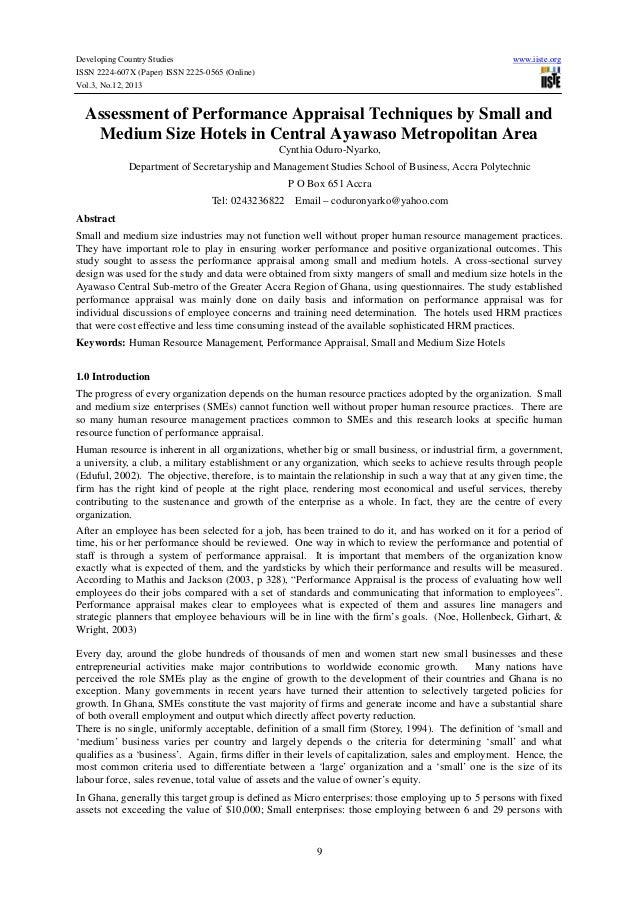 Assessment of performance appraisal techniques by small and medium size hotels in central ayawaso metropolitan area