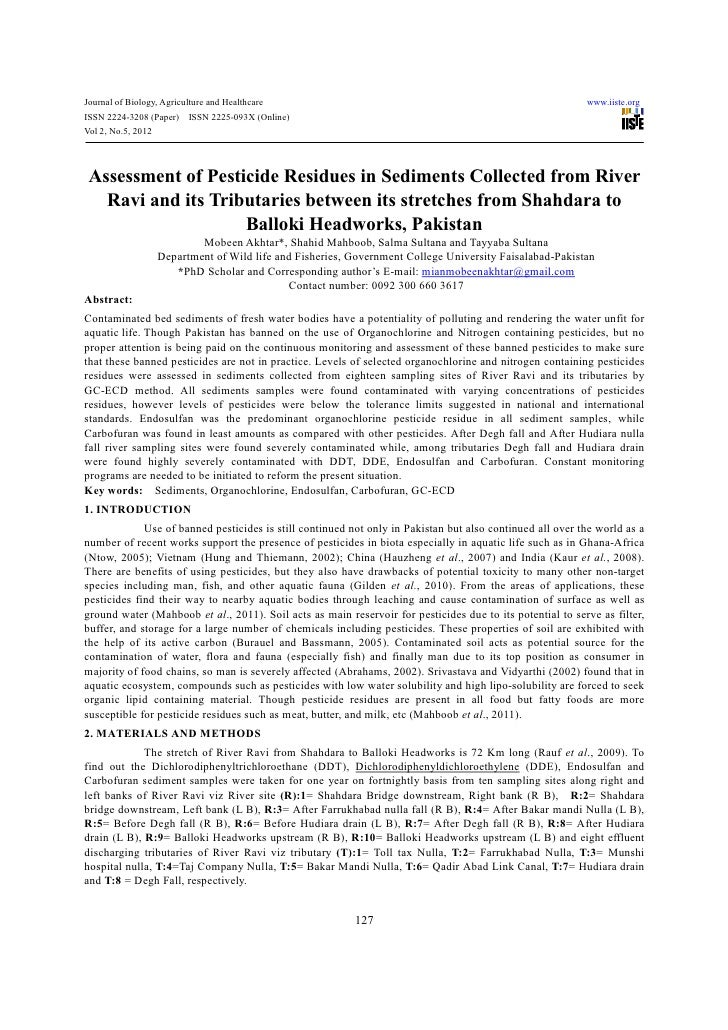 Assessment of pesticide residues in sediments collected from river ravi and its tributaries between its stretches from shahdara to balloki headworks, pakistan
