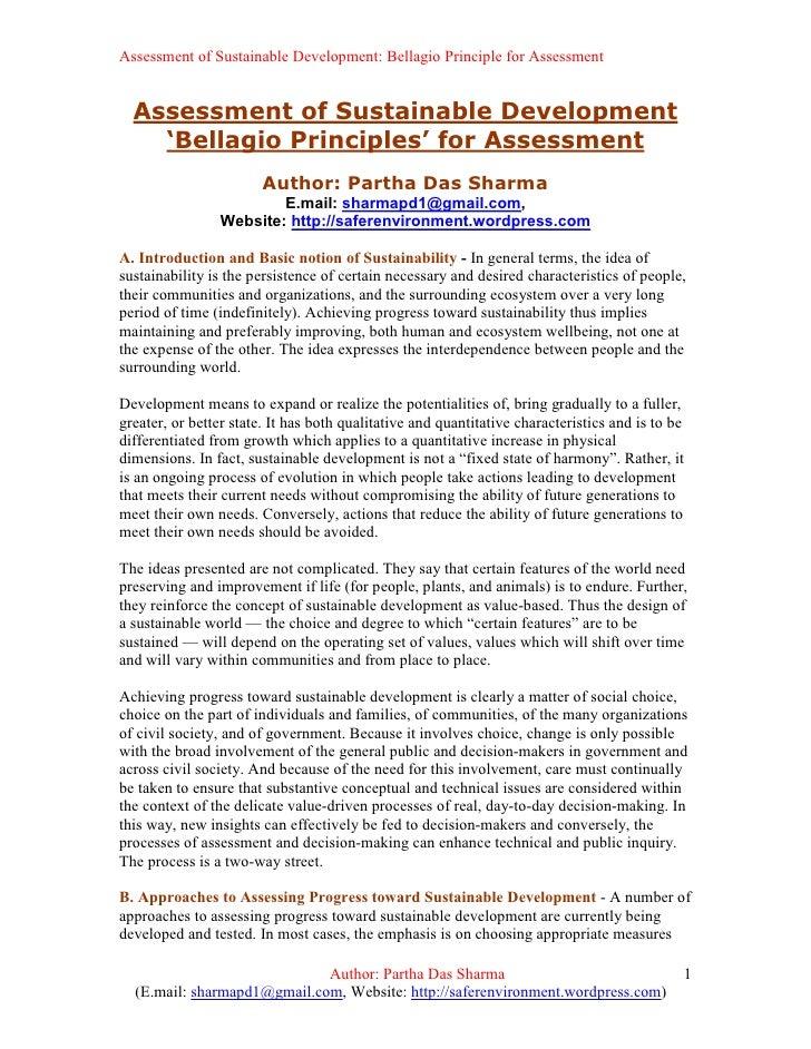 Assessment of Sustainable Development: Bellagio Principle for Assessment     Assessment of Sustainable Development     'Be...