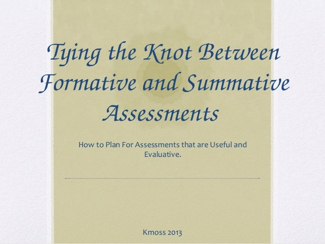Tying the Knot Between  Formative and Summative  Assessments  How to Plan For Assessments that are Useful and Evaluative. ...