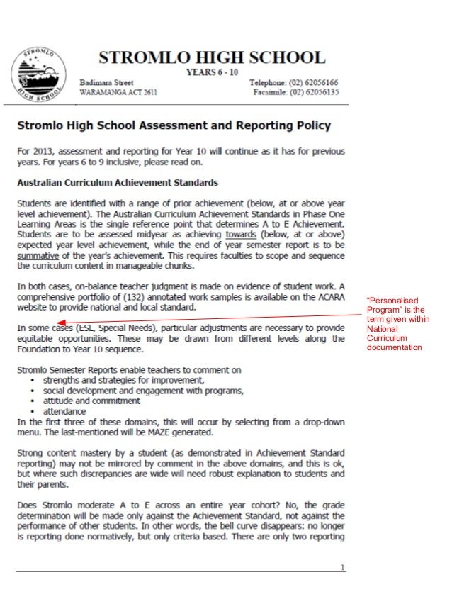 Assessment policy annotated