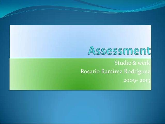 Studie & werkRosario Ramírez Rodríguez                2009- 2013