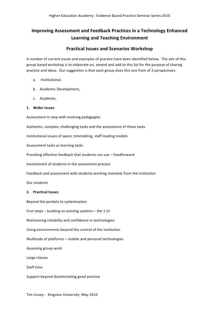 Issues and Scenarios Workshop