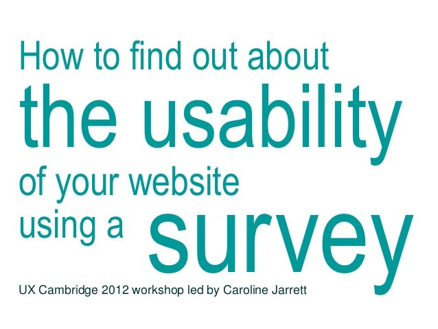 How to find out about the usability of your web site using a survey by @cjforms