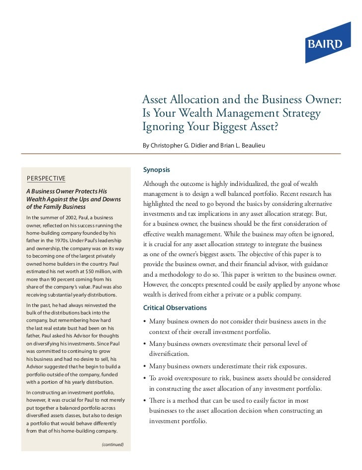 Asset Allocation and the Business Owner:                                                 Is Your Wealth Management Strateg...