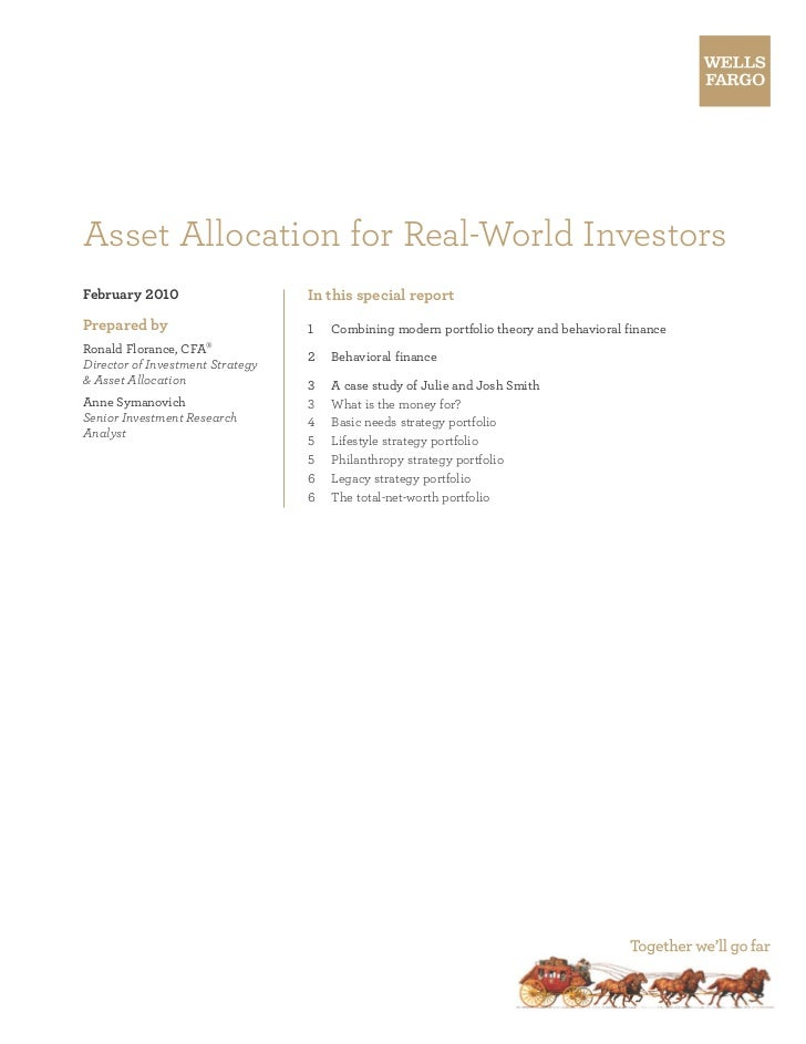 Asset Allocation for Real-World InvestorsFebruary 2010                     In this special reportPrepared by              ...