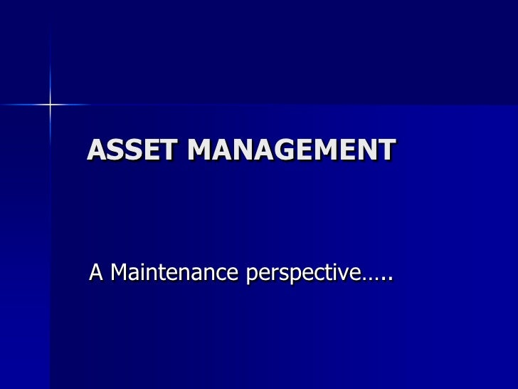 Asset Management,A Maintenance Perspective