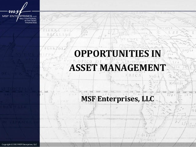 OPPORTUNITIES IN ASSET MANAGEMENT MSF Enterprises, LLC  Copyright © 2013 MSF Enterprises, LLC