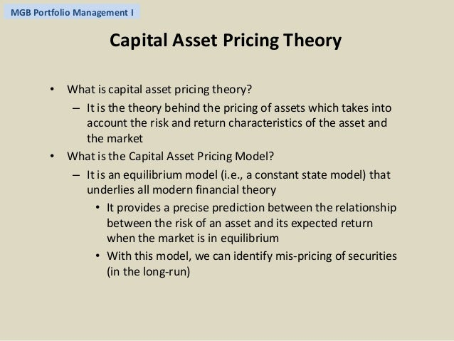 an analysis of the theory of the capital asset pricing model 16:14 lecture 05 mean-variance analysis and capm lecture 05: mean-variance analysis & capital asset pricing model (capm) • portfolio theory: only analysis.