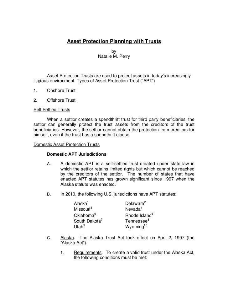 Asset Protection Planning with Trusts                                        by                                 Natalie M....