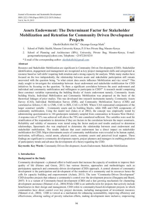 Assets endowment determinant factor for stakeholder mobilization and retention for community driven development projects