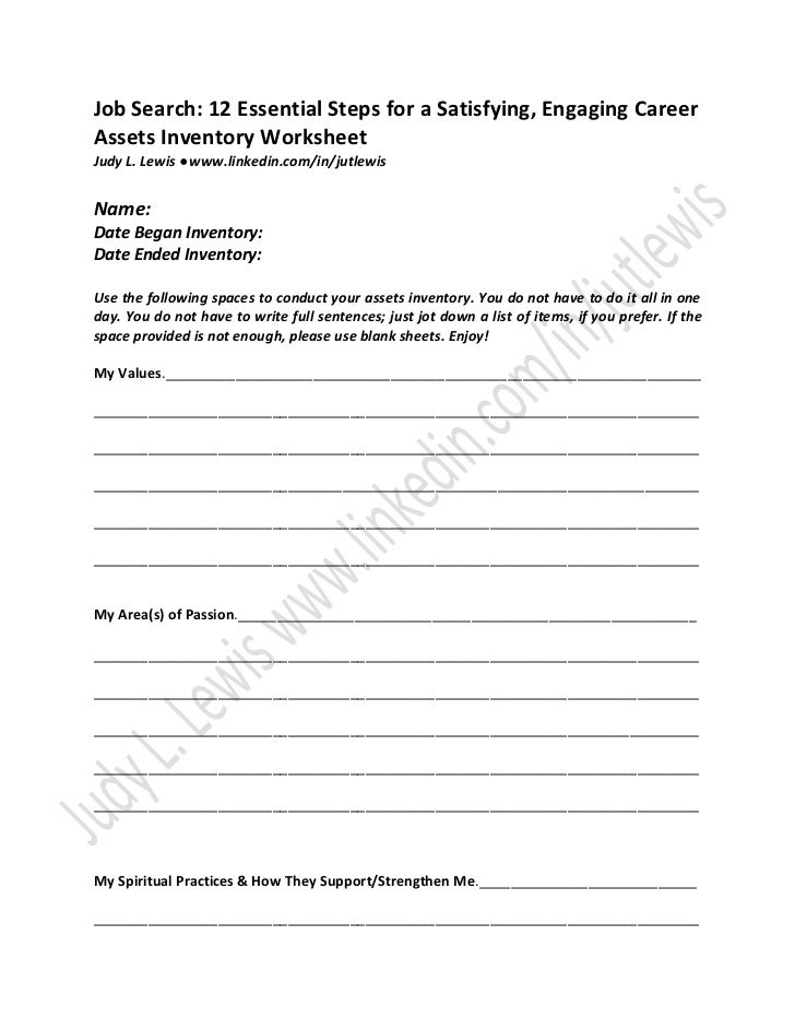 Assets inventory worksheet job search 12 essential steps for a satis…