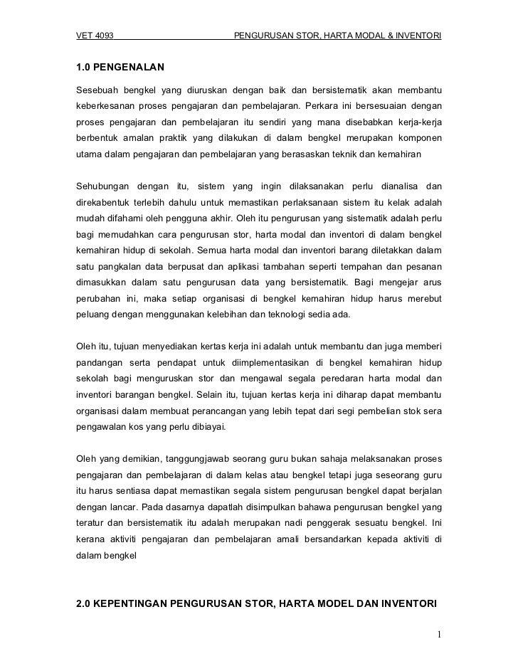 VET 4093- Pengurusan Stor, Harta Modal dan Inventori