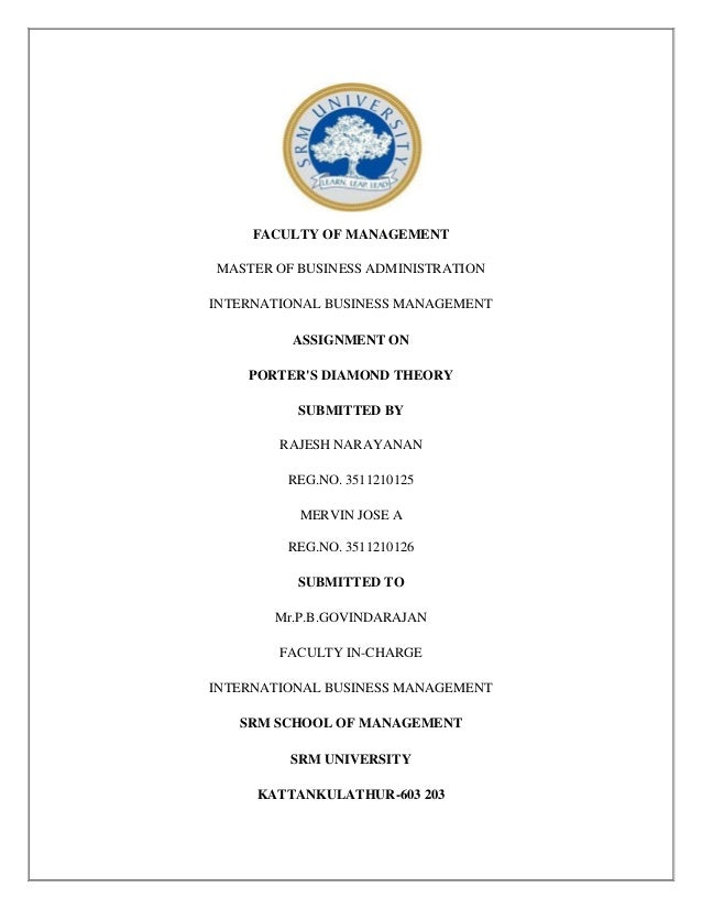 FACULTY OF MANAGEMENT MASTER OF BUSINESS ADMINISTRATION INTERNATIONAL BUSINESS MANAGEMENT ASSIGNMENT ON PORTER'S DIAMOND T...