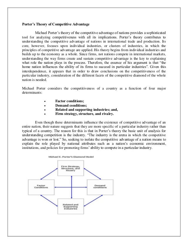porters diamond 2 essay Competitiveness based on the theoretical framework of porter's diamond model  the database  focused on michael porter's model system [1] and its critique [2]   in summary, we think the results of the factor analysis reflects the structure of.