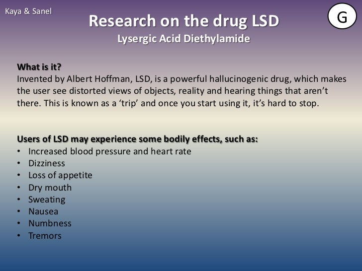 Kaya & Sanel                    Research on the drug LSD                                    G                           Ly...