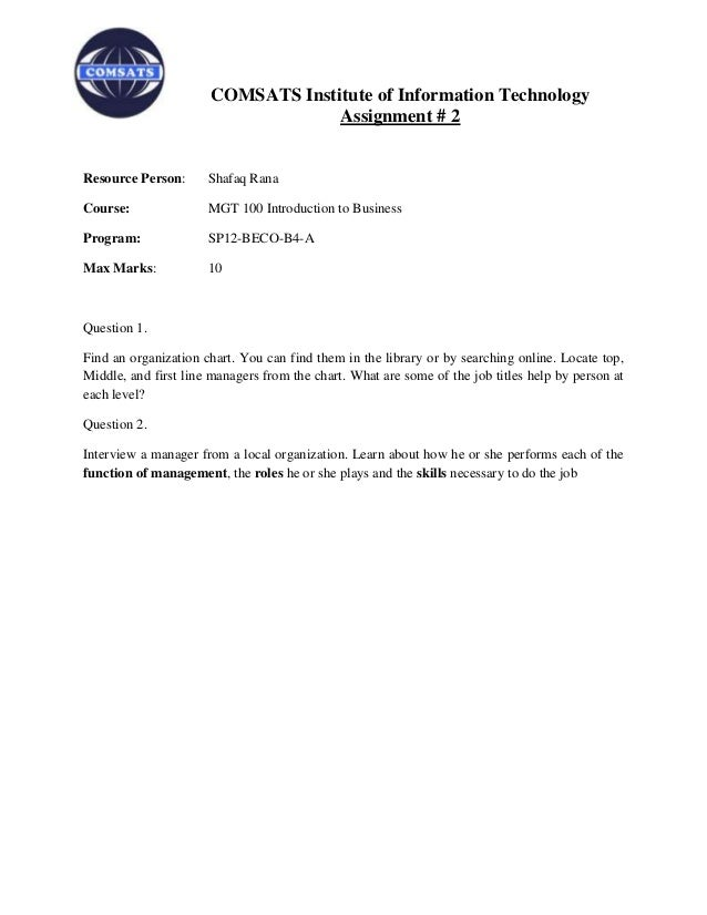 COMSATS Institute of Information Technology                                   Assignment # 2Resource Person:      Shafaq R...