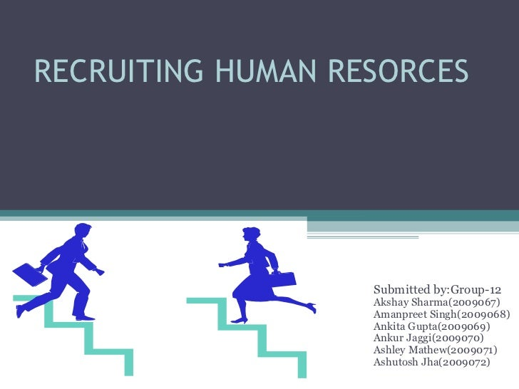 RECRUITING HUMAN RESORCES Submitted by:Group-12 Akshay Sharma(2009067) Amanpreet Singh(2009068) Ankita Gupta(2009069) Anku...