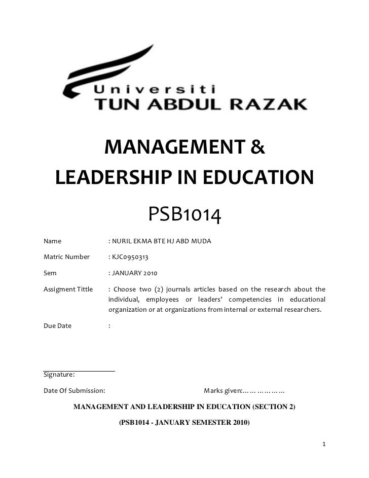 MANAGEMENT &   LEADERSHIP IN EDUCATION                                  PSB1014Name                  : NURIL EKMA BTE HJ A...