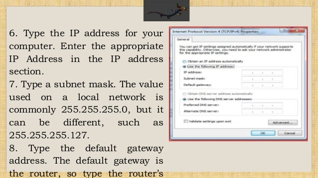 assign ip address Computers may be assigned a static ip address or assigned one dynamically (via dhcp) here i will explain the steps needed to assign an ip address to your nic.