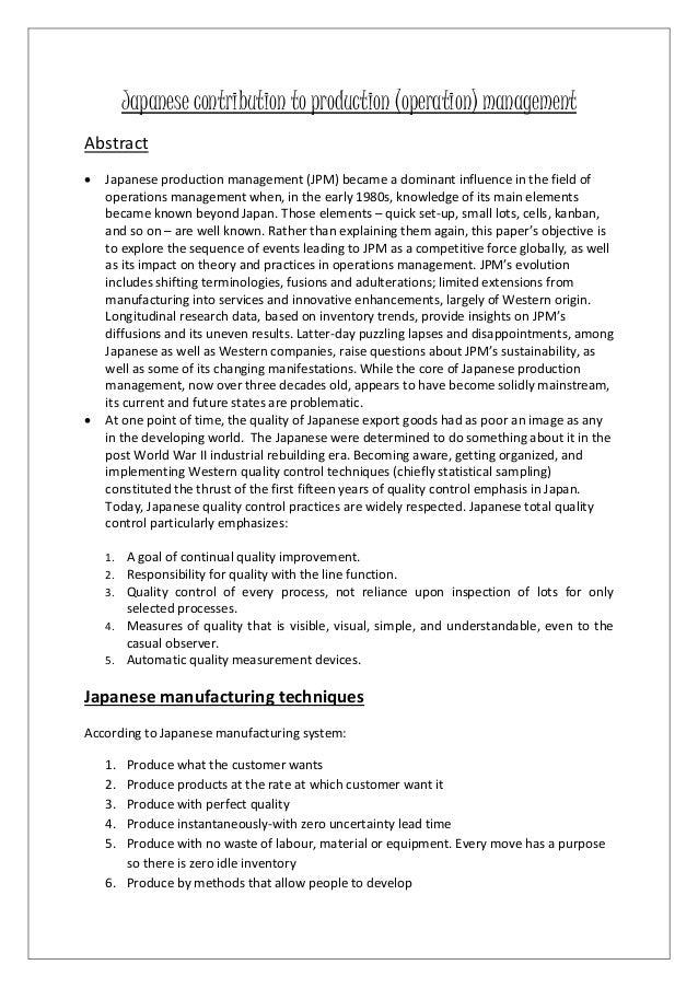 JAPANESE CONTRIBUTION TO PRODUCTION (OPERATION) MANAGEMENT