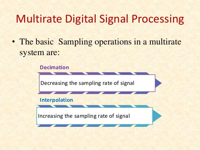a summary of multirate digital signal 2008-12-04  multirate digital signal processing motivation & introduction observation:real worlds problems often involve signal with different sampling rates, eg, telecommunications common needs: sampling rate conversion multirate.