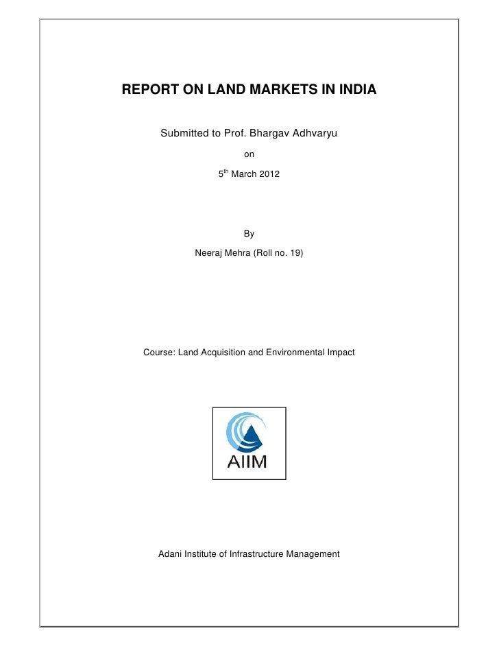 Assignment land market india