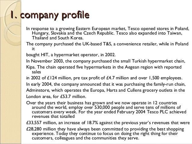 Company profile for Tesco