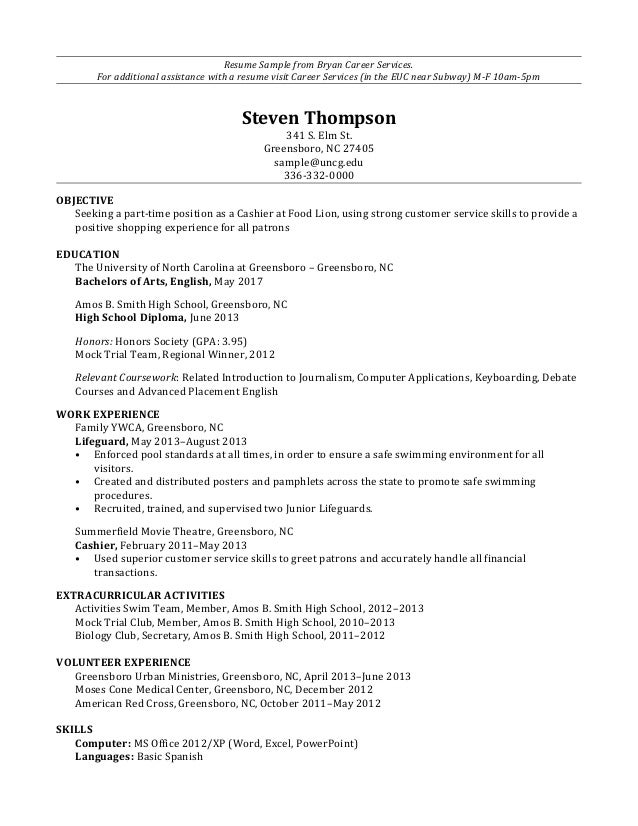 Subway Resume Samples  Lifeguard Resume Description