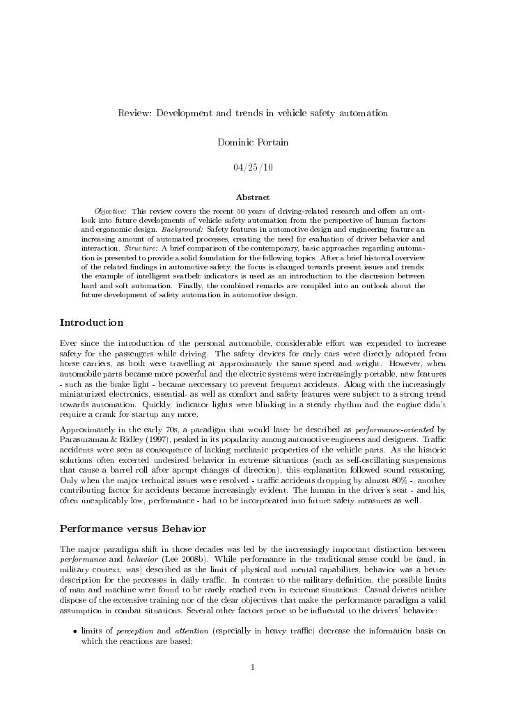 Review: Development and trends in vehicle safety automation                                                     Dominic Po...