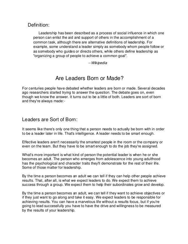 Managers Are Made Not Born Essay