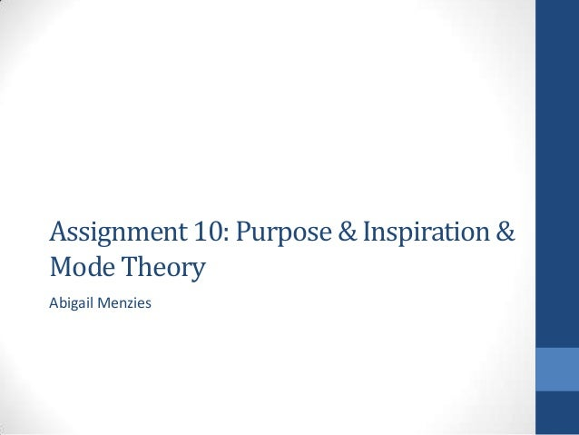 Assignment 10: Purpose & Inspiration & Mode Theory Abigail Menzies