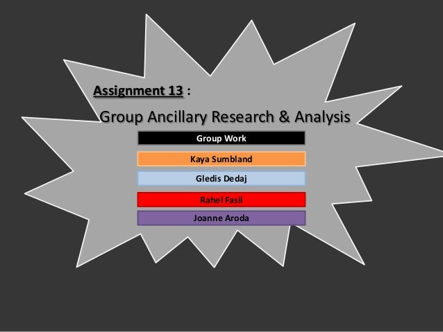 Assignment 13 :Group Ancillary Research & Analysis                  Group Work              Kaya Sumbland                 ...
