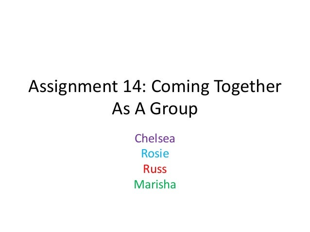 Assignment 14: Coming Together As A Group Chelsea Rosie Russ Marisha