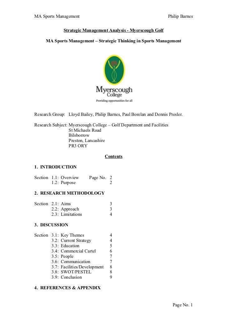 MA Sports Management                                                 Philip Barnes                Strategic Management Ana...
