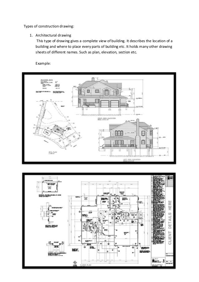 Types of construction drawing: 1. Architectural drawing This type of drawing gives a complete view of building. It describ...