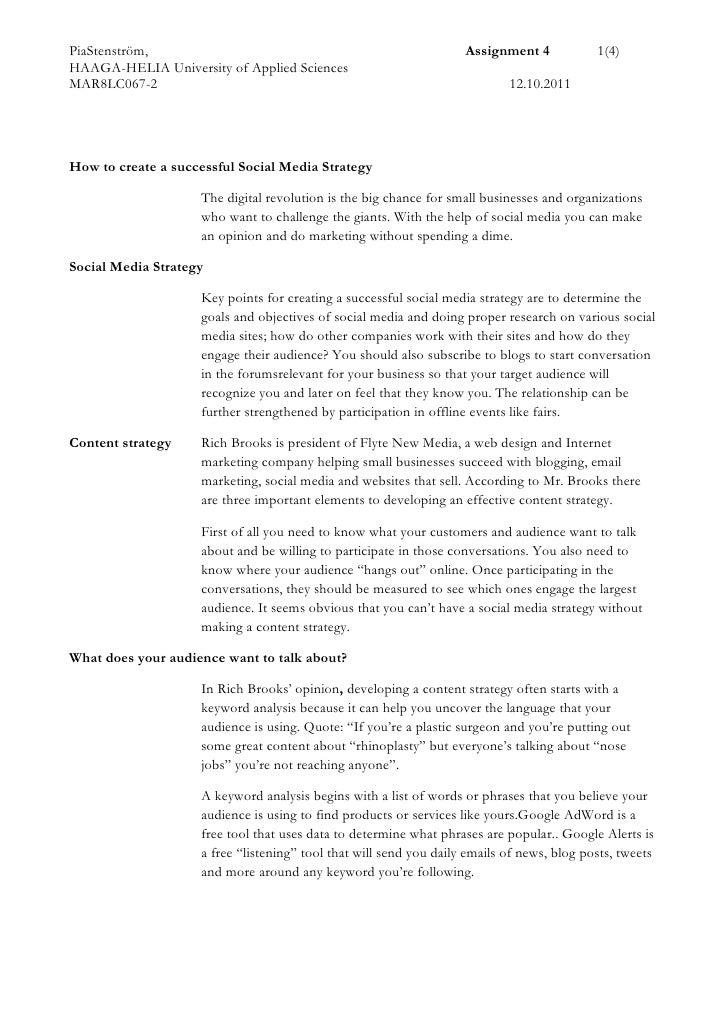 Social Media in Marketing Assignment 4