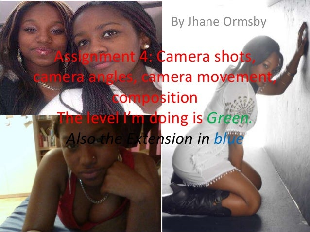 By Jhane Ormsby  Assignment 4: Camera shots,camera angles, camera movement,           composition   The level I'm doing is...