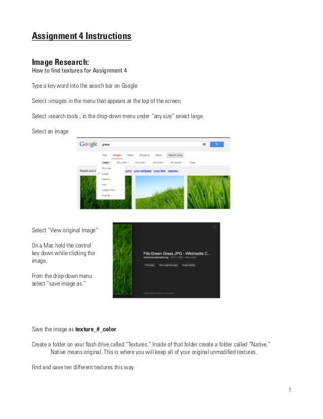 Assignment 4 InstructionsImage Research:How to find textures for Assignment 4Type a key word into the search bar on Google...