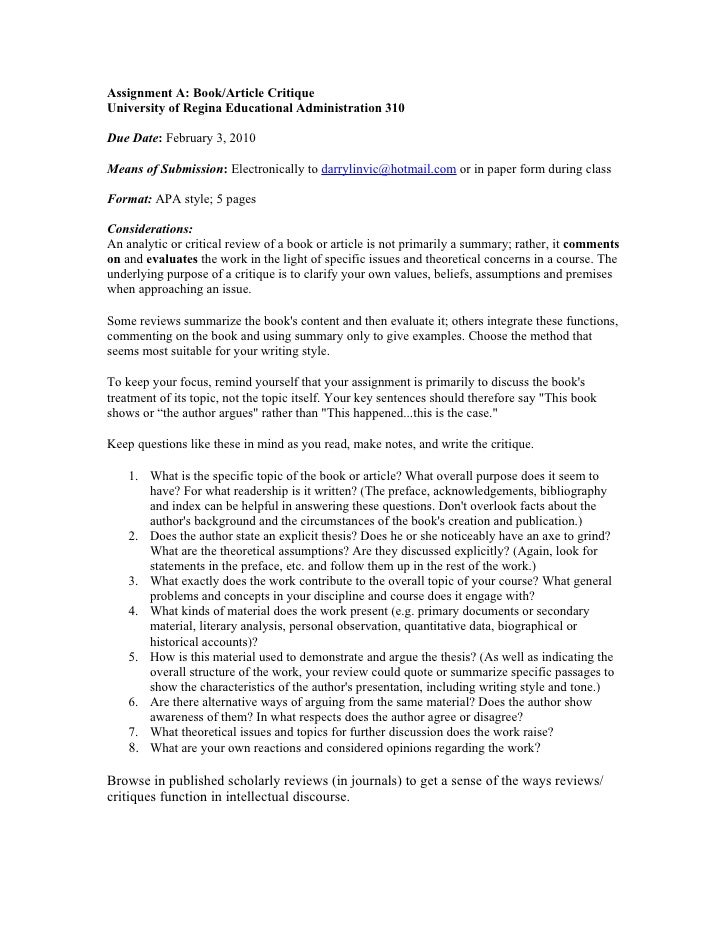 Assignment A: Book/Article Critique University of Regina Educational Administration 310  Due Date: February 3, 2010  Means...