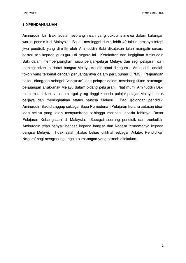 HNS 2013                                                             D201210583641.0 PENDAHULUANAminuddin bin Baki adalah ...