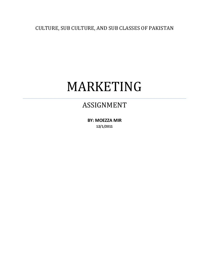 CULTURE, SUB CULTURE, AND SUB CLASSES OF PAKISTAN           MARKETING                ASSIGNMENT                  BY: MOEZZ...